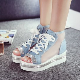 Ericdress Mesh Patchwork Lace up Wedge Sandals