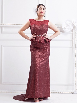 Ericdress Plus Size Sheath Scoop Beading Crystal Ruffles Sequins Sweep Train Evening Dress
