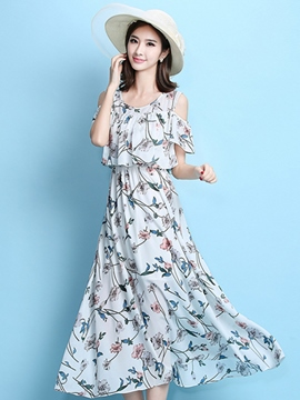 Ericdress Cold Color Expansion Print Maxi Dress