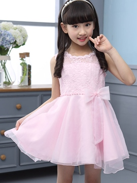 Ericdress Solid Color Lace Patchwork Girls Dress
