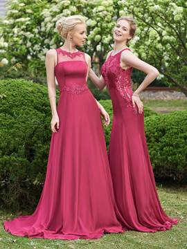 Ericdress Charming Scoop A Line Long Bridesmaid Dress