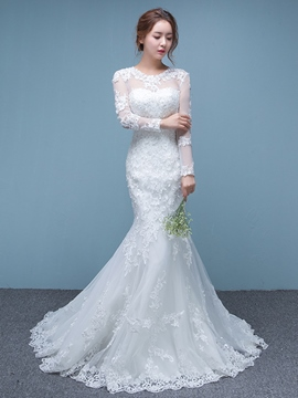 Modest Jewel Long Sleeves Mermaid Wedding Dress