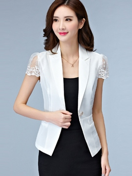 Ericdress Solid Color Slim Mesh Patchwork Blazer