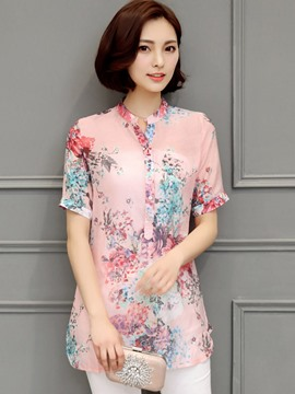 Ericdress Slim Casual Printed Floral Blouse