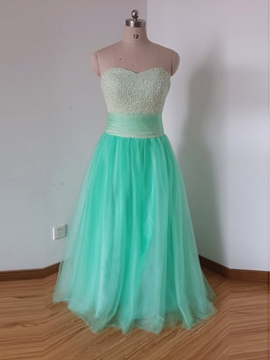 Ericdress A-Line Sweetheart Beaded Sashes Floor-Length Prom Dress
