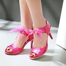 Ericdress Bright Bowtie Peep Toe Stiletto Sandals