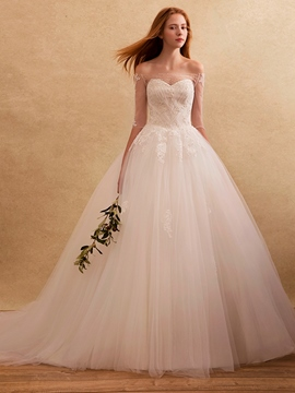 Ericdress Charming Off The Shoulder Ball Gown Wedding Dress With Sleeves