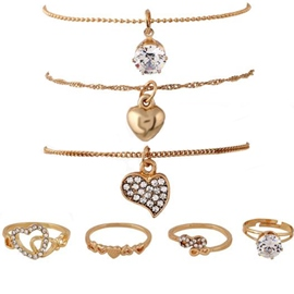 Golden Love Alloy Seven-Piece Jewelry Set