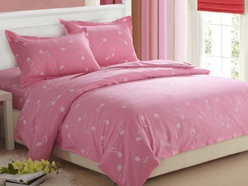 Ericdress Pink Music Notes Cotton Bedding Sets