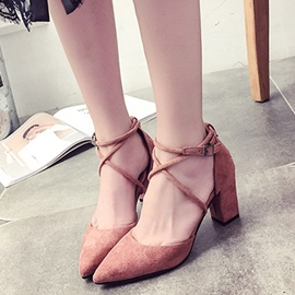Ericdress Point Toe Cross Strap Chunky Sandals
