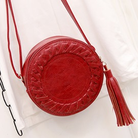 Ericdress Round Weaved Decorated Tassel Crossbody Bag