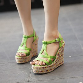 Ericdress Kintting T Strap Wedge Sandals