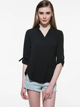 Ericdress Black V-Neck Half Sleeve Blouse