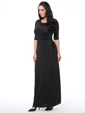 Ericdress Solid Color Round Neck Half Sleeve Plus Size Maxi Dress