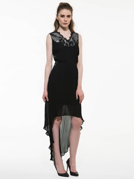 Ericdress Pleated Expansion Little Black Dress