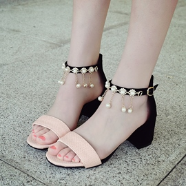 Ericdress Patchwork Pearl Tassels Chunky Sandals