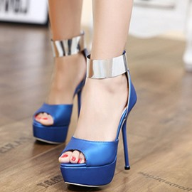 Ericdress Metal Patchwork Peep Toe Ankle Strap Stiletto Sandals