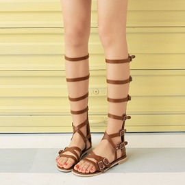Ericdress Roman Buckles Knee High Flat Sandals