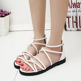 Ericdress Preppy Style Open Toe Flat Sandals