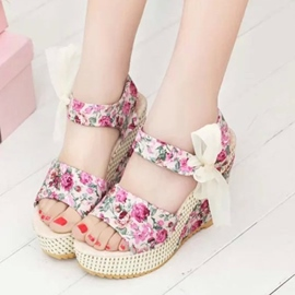 Ericdress Floral Print Lace Wedge Sandals