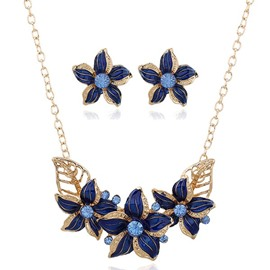 Alloy Drip Flowers Jewelry Set