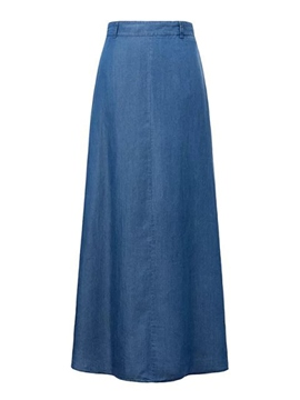 Ericdress Solid Color A-Line Denim Maxi Skirt