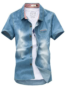 Ericdress Short Sleeve Worn Casual Denim Men's Shirt