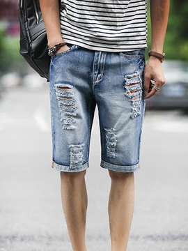 Ericdress Denim Loose Holes Men's Shorts