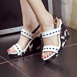 Ericdress Charming Floral Printed Buckles Wedge Sandals