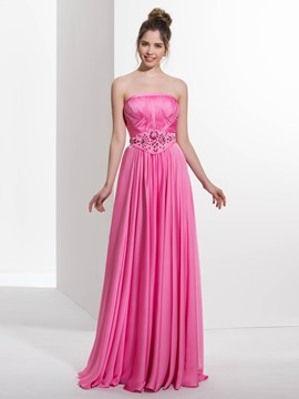 Ericdress A-Line Strapless Beading Pleats Long Prom Dress
