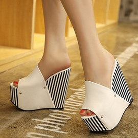 Ericdress Stripe Peep Toe Platform Wedge Sandals