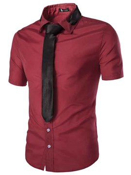 Ericdress Plain Short Sleeve Slim Men's Shirt with Tie