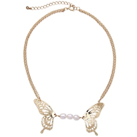 Golden Pearl Butterfly Necklace