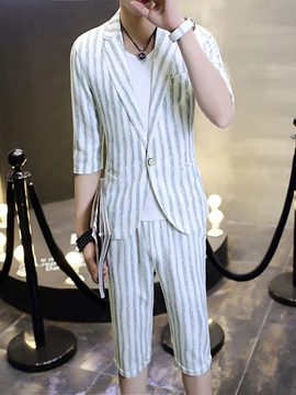 Ericdress Stripe Vogue Half Leg Men's Suit