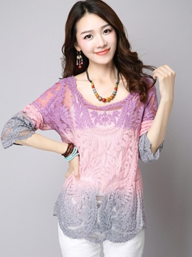 Ericdress Loose Hollow Gradient Blouse