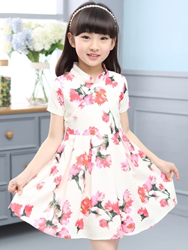 Ericdress Print Stand Collar Girls Dress
