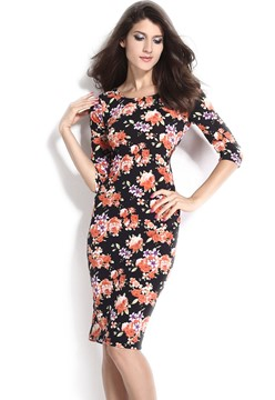 Ericdress Flower Print Half Sleeve Sheath Dress