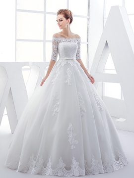 Ericdress Beautiful Off The Shoulder Ball Gown Wedding Dress With Sleeves