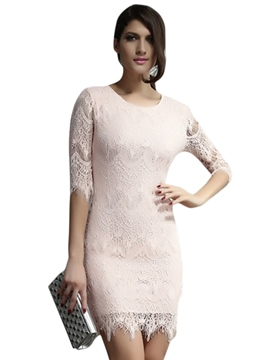 Light Peach Allover Lace Three Fourth Sleeves Day Dresses
