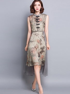 Ericdress Chinese Ethic Print Button Casual Dress