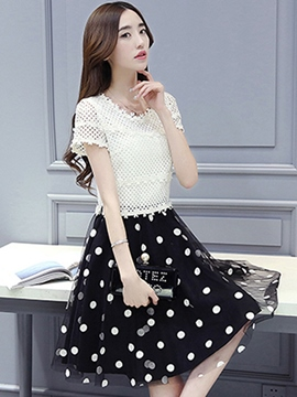 Ericdress Polka Dots Patchwork Casual Dress