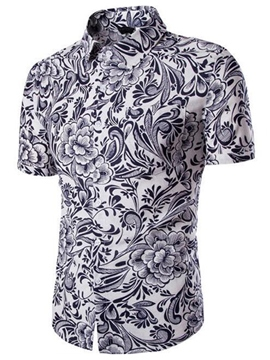 Ericdress Casual Printed Short Sleeve Beach Men's Shirt