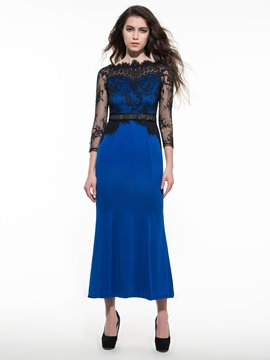Ericdress Prom Lace Patchwork Sheath Maxi Dress