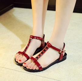Ericdress Rivets T Strap Flat Sandals