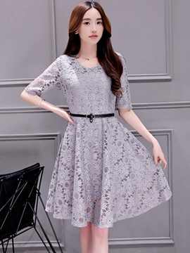 Ericdress Solid Color Short Sleeve Expansion Lace Dress