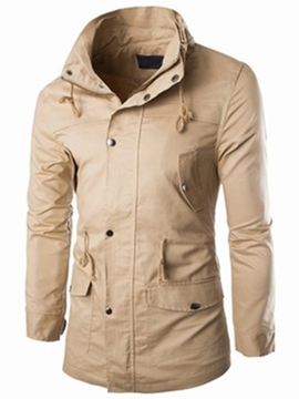 Ericdress Windproof Lace-Up Big Pocket Slim Men's Coat