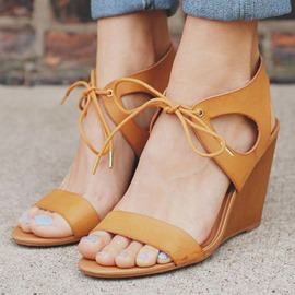 Ericdress Simple Open Toe Lace up Wedge Sandals