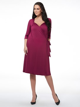 Ericdress Plain Lace-Up Plus Size Casual Dress