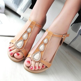 Ericdress Vintage Beads Flat Sandals