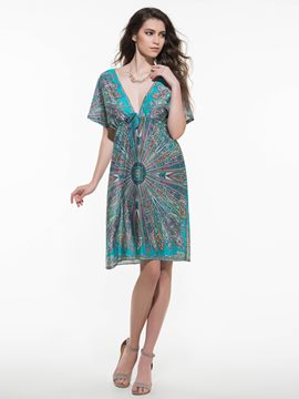 Ericdress Bohemian Style Floral Print V-Neck Batwing Sleeve Casual Dress